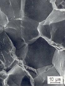 Bild 2: REM-Aufnahmen von einem transkristallinen Bruch, 1000:1