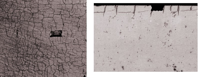 Fig 2: left: Mesh breakage in a network of firing cracks, right: Micrograph of a mesh breakage with clear parallel secondary cracks under the mold surface leading to chipping