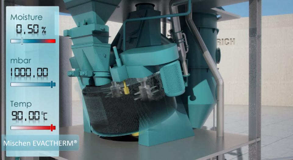 Bild 4: Homogenisieren, messen von Temperatur und Feuchte vor dem Aufbereiten (Maschinenfabrik Gustav Eirich GmbH & Co KG)