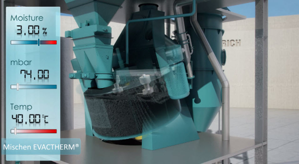 Bild 7: Technische Vakuum ist auf 74 mbar gesenkt und die 40°C Sandtemperatur erreicht (Maschinenfabrik Gustav Eirich GmbH & Co KG)
