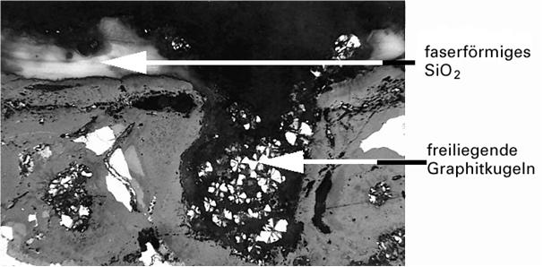 Bild 5: Senkrechter Schliff zur Gussoberfläche, ungestrahlt, Vergrößerung 50:1, polarisiertes Licht,ungeätzt (Quelle:FT&E)
