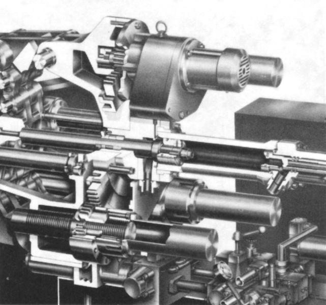 Bild 2: Formhöhenverstellung mit Zahnkranzgetriebe in Schnittdarstellung, Quelle: Idra Presse Spa, Brescia, I