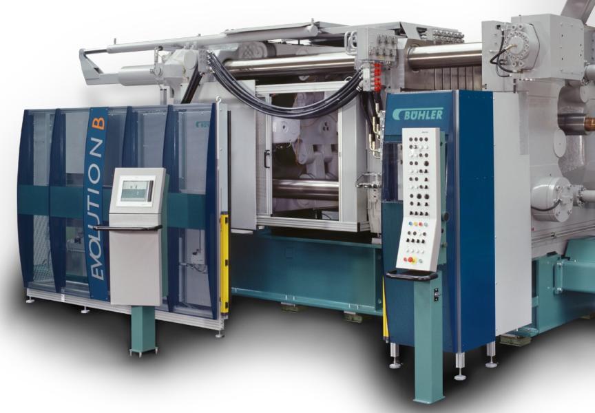 Bild 2: Formschließeinheit einer Kaltkammerdruckgießmaschine Bühler Evolution B der Fa. Bühler AG