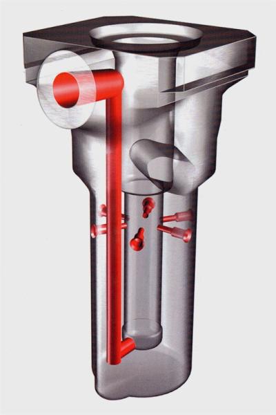 Bild 2: Gießbehälter einer Warmkammer-Druckgießmaschine, Siphon, Hersteller Fa. Stahlwerk Stahlschmidt GmbH