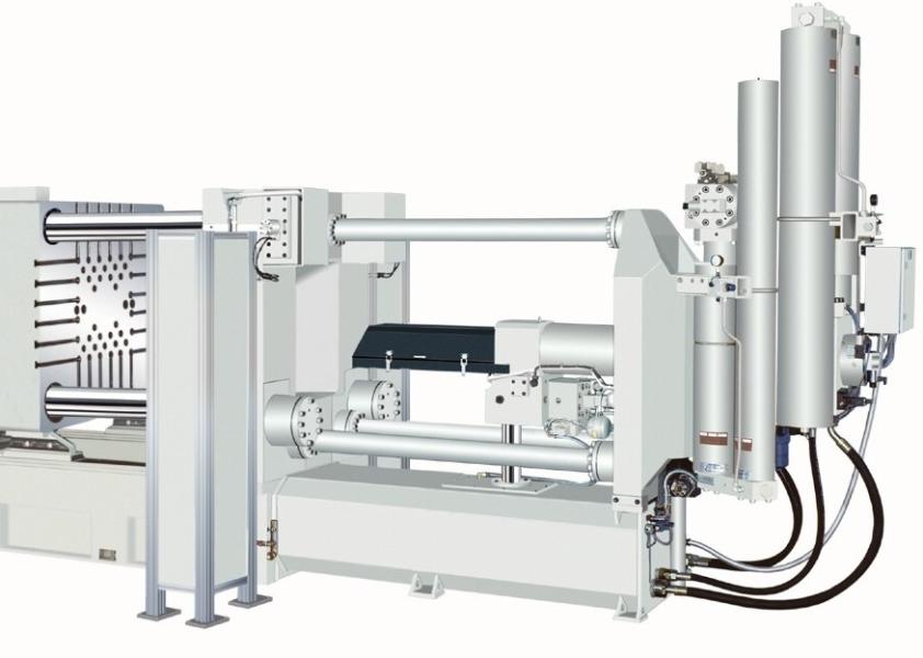 Bild 3: Gießeinheit mit Druckspeichern einer Druckgießmaschine des Herstellers Oskar Frech GmbH