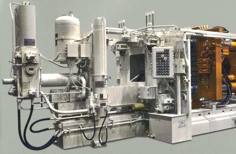Bild 4: Gießantrieb mit Druckspeichern an einer Druckgießmaschine des Herstellers Idra Pressen GmbH