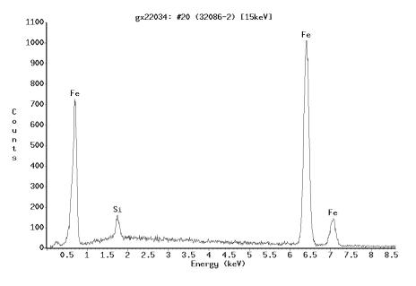 Bild 7: EDX-Analyse von Messpunkt 2 aus Bild 4, welche Ferrit (Eisen) nachweist