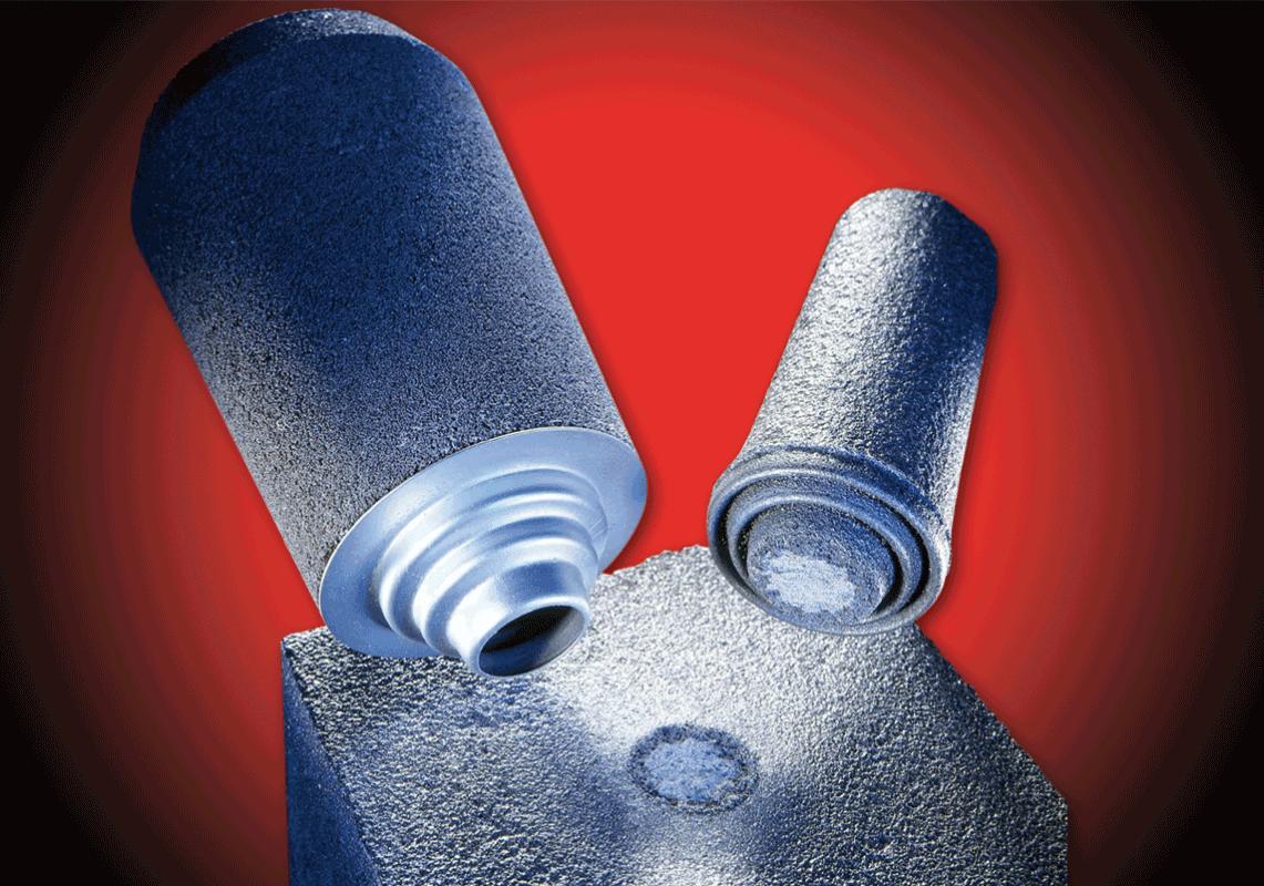 Bild 5: Bruchverhalten von Mini-Speisern mit Metallbrechkern (FOSECO Foundry Division, Borken, Deutschland)