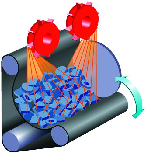 Bild 1: Prinzip der Muldenband-Strahlanlage, schematisch, (Wheelabrator)