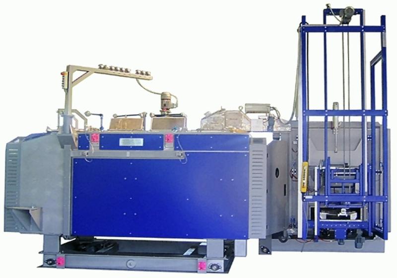 Bild 2: Magnesium-Schmelz- und Dosierofen mit automatisierter Beschickung durch eine Magnesium-Masselvorwärmeinrichtung, Typen MDO und MVE der Ing. Rauch Fertigungstechnik GmbH