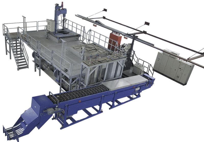 Bild 2: Masselgießband (im Vordergrund) an einer Magnesium-Legierungsanlage vom Typ MLA der Ing. Rauch Fertigungstechnik GmbH