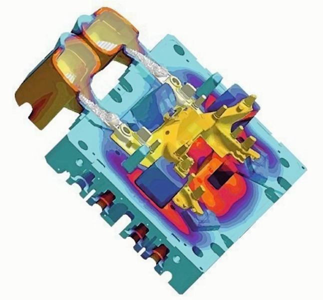 Bild 3: Simulation des turbulenzarmen Einströmens der Schmelze in den Formhohlraum beim Durville-Kippkokillengießverfahren, Quelle: MagmaSoft GmbH