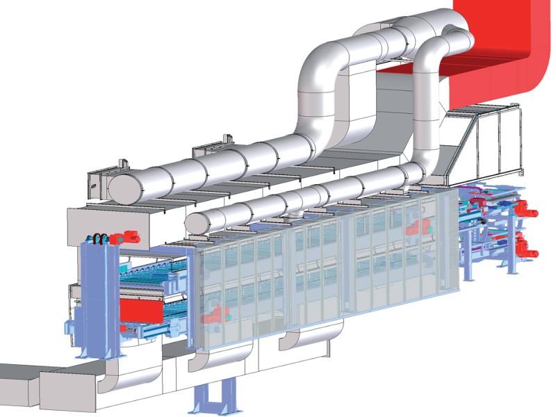 Bild 1: Kühlfördersystem COOLVEYOR von Fa. Fill GmbH, eingehauste Komplettanlage mit Transport der Gussteile in Tassen auf einem Stabfördersystem, Zwangskühlung und Abzug