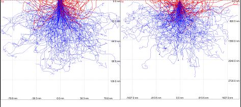 Bild 7: Simulation des Streuquerschnittes in Gusseisen (Rückstreuelektronen = rot)Beschleunigungsspannung / Eindringtiefe / Rückstreukoeffizient:   a) 5kV / 0,1µm / 0,26 b) 30kV / 2µm / 0,28