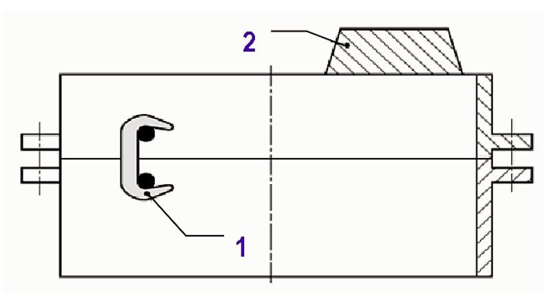 Bild 3: Formkasten unterschiedlicher Höhe1) verklammert2) mit Beschwereisen