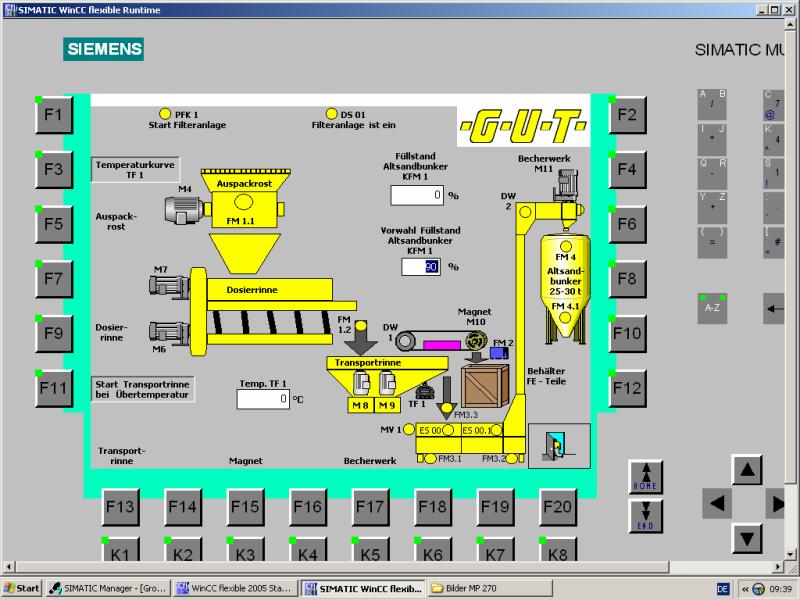 Bild 3: SPS-Panel einer Auspackstation mit Sandrückgewinnung, (GUT Giesserei Umwelt Technik GmbH, Freudenberg)