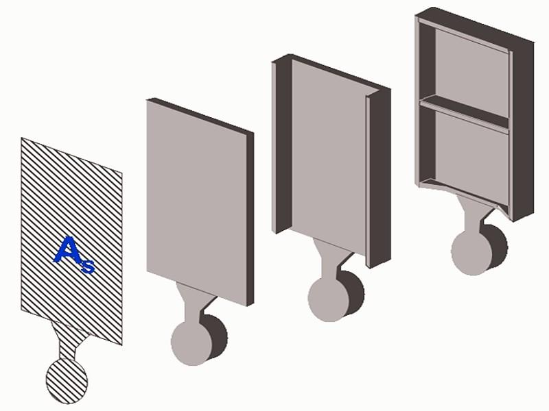 Bild 2: Drei Druckgussteile gleicher Sprengfläche, aber mit unterschiedlichem Gusstückgewicht