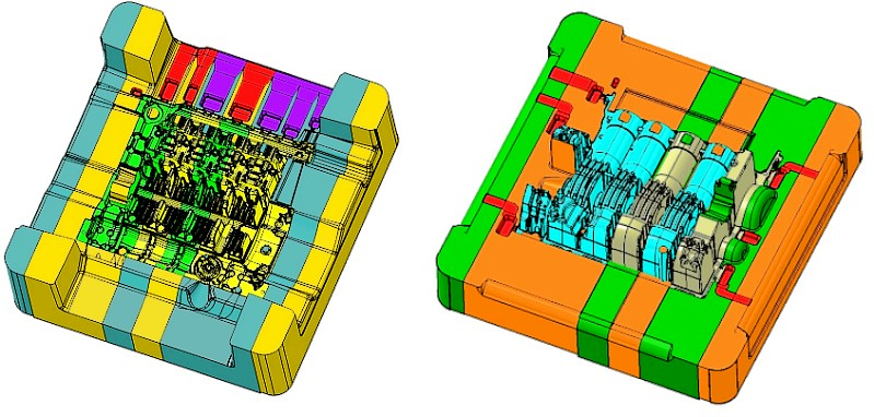 Bild 4: Konstruktionsausführung von Formeinsätzen und Druckgießform für ein Reihen-4-Zylinder-Kurbelgehäuse von Schaufler Tooling GmbH