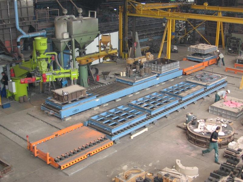 Bild 4: Mechanisierung der Handformerei, typischer Formkreislauf im Kaltharzbereich (FAT Förder- und Anlagentechnik GmbH, Niederfischbach)