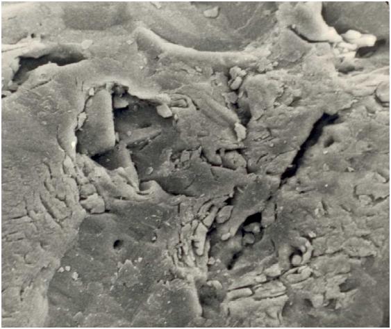 Bild 3: Zerklüftete Kornoberfläche von Quarzsand, 1000:1