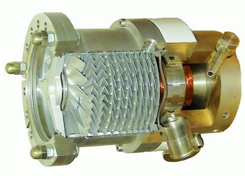 Bild 1: Schnitt durch eine Turbomolekularpumpe (Vakuumpumpe), Quelle: Pfeiffer Vacuum