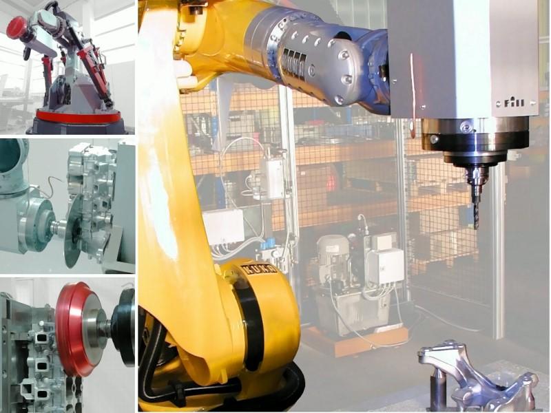 Bild 1: Mechanische Bearbeitung von Gussteilen mit einem Industrieroboter, Beispiele des Einsatzes einer Roboterzelle ROBMILL CNC PLUS von Fill GmbH