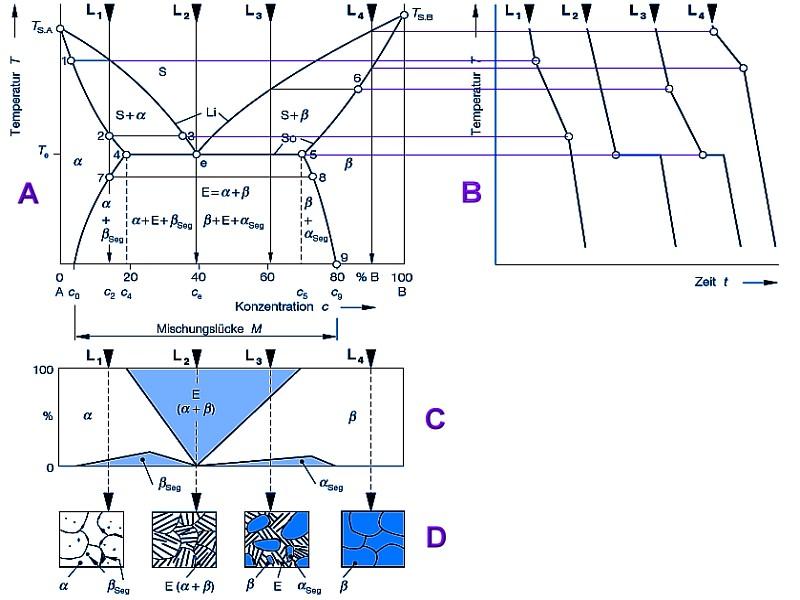 Bild 2: Zustandsschaubild (Phasendiagramm) eines eutektischen Systems mit vollständiger Löslichkeit im flüssigen und begrenzter Löslichkeit im festen Zustand, nach J. Bargel und H. Hilbrans;A ZustandsschaubildB Abkühlkurven der Legierungen L1 bis L4C GefügerechteckD Gefüge, mit den sich bei der Erstarrung und Abkühlung ausbildenden Phasen