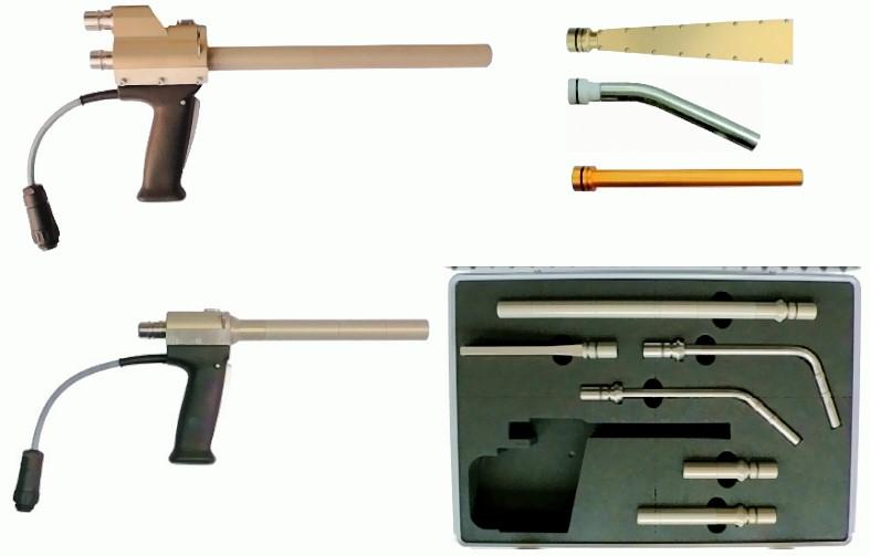 Bild 2: Trockeneis-Sprühpistolen mit Zubehör-Düsen, Quelle: ASCO Kohlensäure AG, Romanshorn, CH