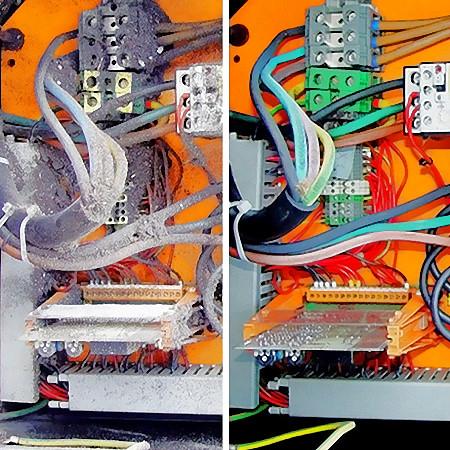 Bild 7: Schaltschrank vor und nach Reinigung mittels CO2-Schneestrahlen, Foto: CryoSnowGmbH