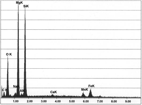 Bild 4: Elementekonzentration an Mess-Stelle 1 aus Bild 2; Magnesium, Silizium und Sauerstoff bilden Dross, stimmt auch mit der in der  Grafitentartung Fehlerumgebung überein (Quelle: FT&E)