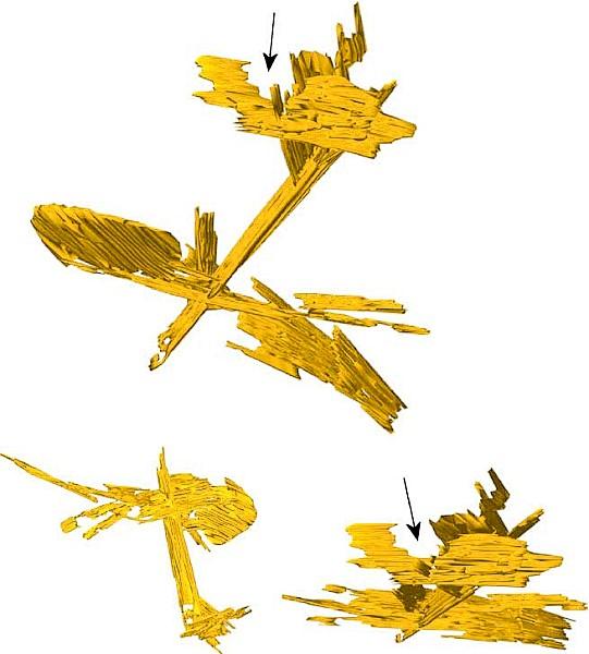 Bild 5: 3-dimensionale Rekonstruktion des Gefügebereiches aus Bild 4a, α-Al5FeSi-Platten-Netzwerk in allen 3 Raumrichtungen (C. M. Dinnis et al.)
