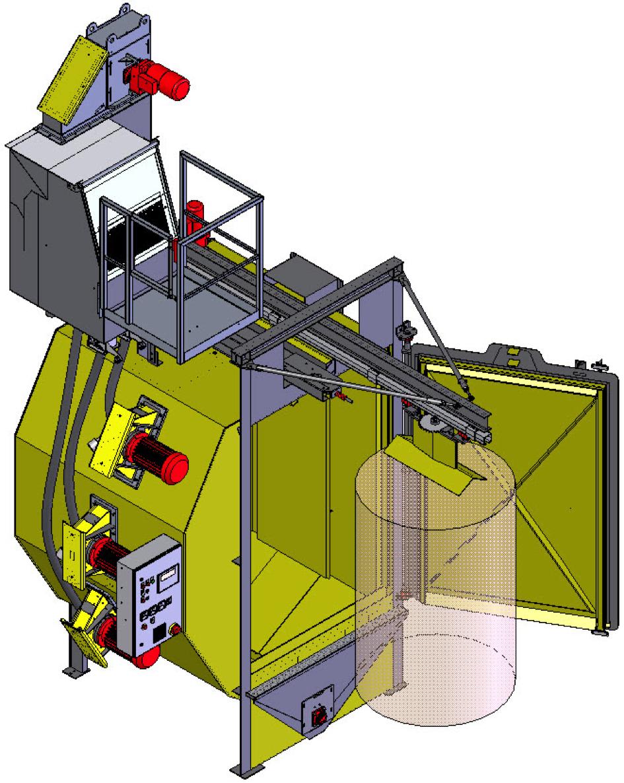 Bild 1: Hängebahn-Strahlanlagen Typ CAPSOR®: Einlaufverfahren, schematisch (Rump Strahlanlagen GmbH & Co. KG)