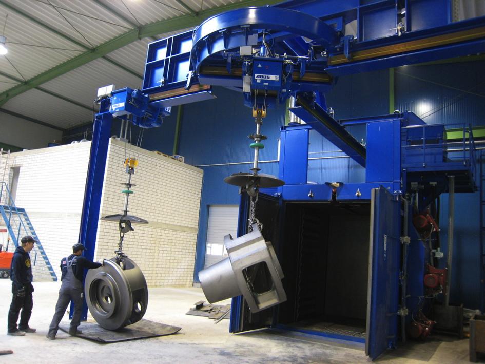 Bild 2: Hängebahn-Strahlanlagen Typ CAPSOR®: Einlaufverfahren (Rump Strahlanlagen GmbH & Co. KG)