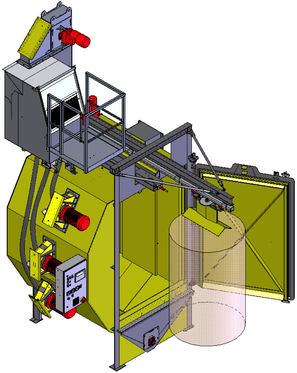 Fig. 1: Hanger-type blast machine Type CAPSOR®, infeed procedure, schematically (Rump Strahlanlagen GmbH & Co. KG)