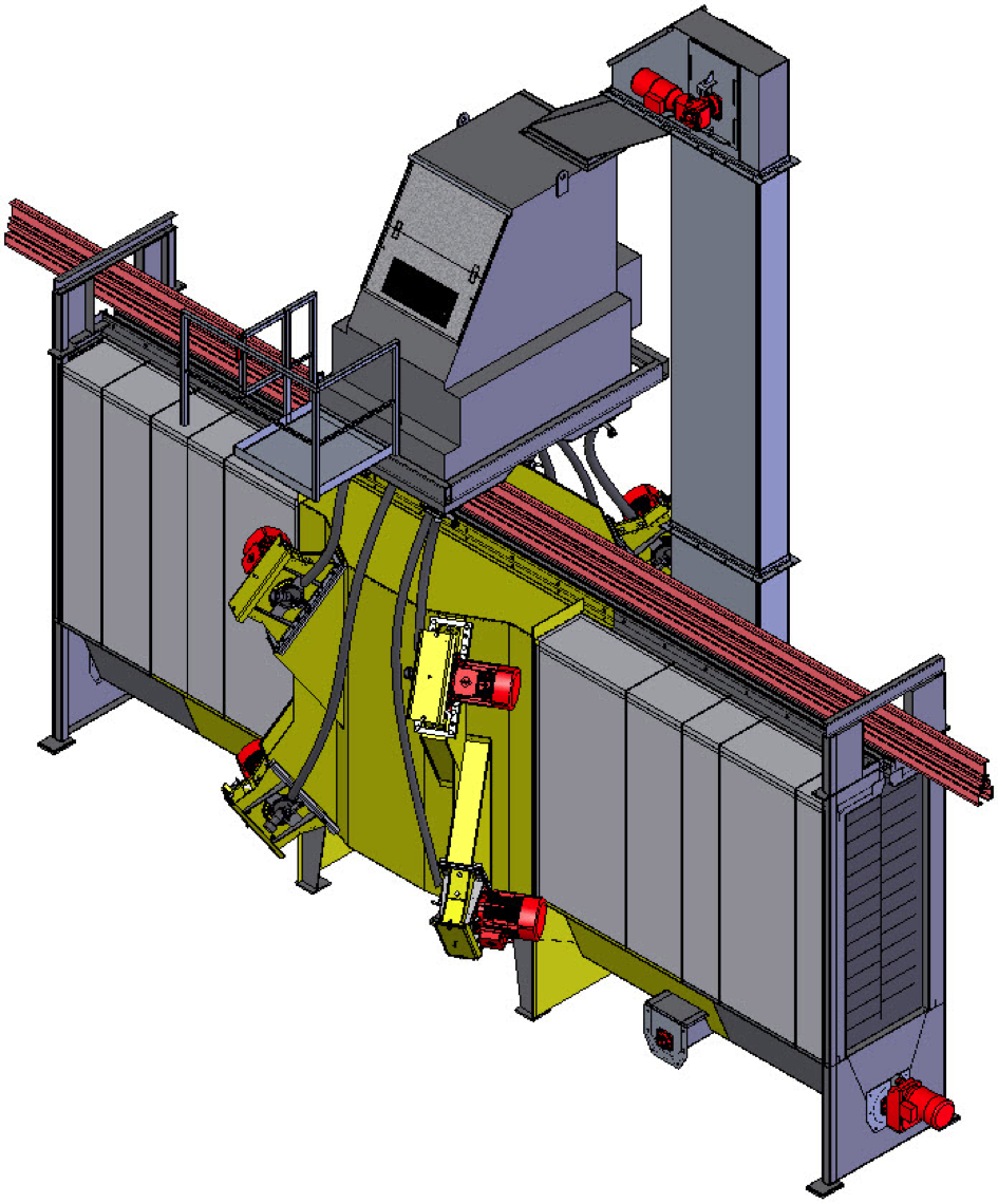 Fig. 3: Hanger-type blast machine Type LINEXA®, run-through process, schematically (Rump Strahlanlagen GmbH & Co. KG)
