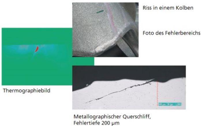 Bild 3: Thermographische Rissanzeige an einem geschmiedeten Kolben. Rechts unten: Metallographischer Schliff (Quelle: Fraunhofer IZFP)