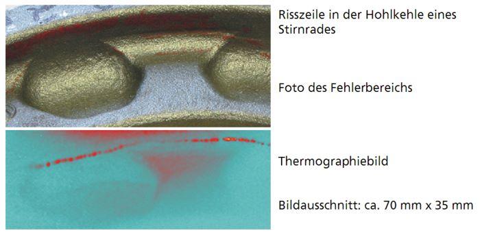 Bild 4: Thermographische Rissanzeige in der Hohlkehle eines Stirnrads (Quelle: Fraunhofer IZFP)