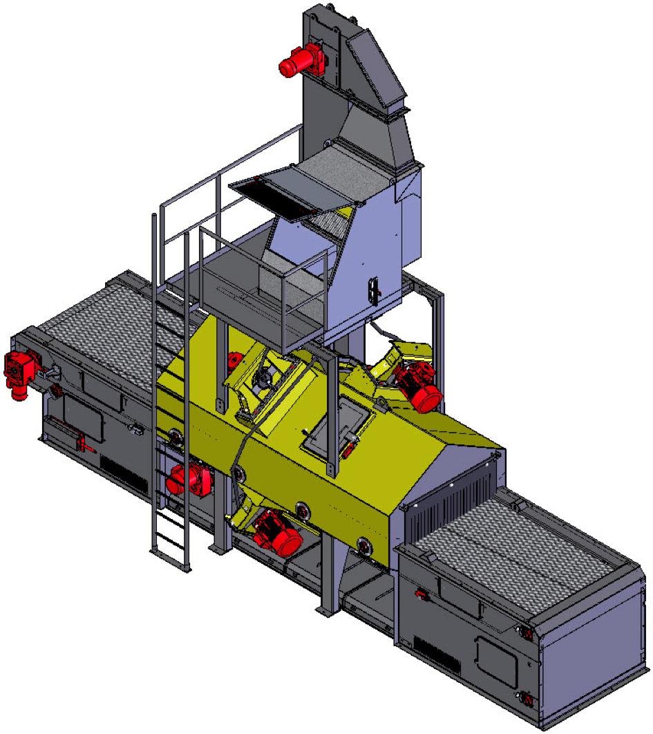 Bild 1: Drahtgurt-Durchlaufanlage, schematisch ohne Fundament (Rump Strahlanlagen GmbH & Co. KG)