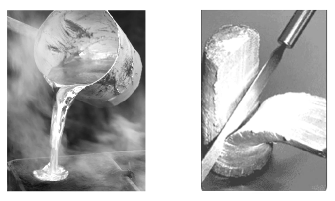 Fig. 2: Conventional casting process (left) compared to the material in the semi-solid process (right), Salzburger Aluminum Group