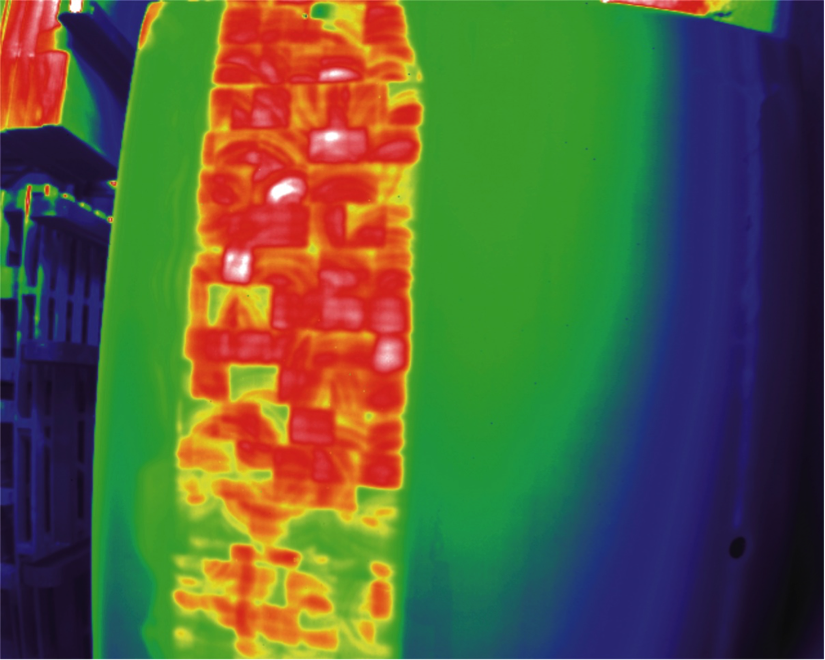 Bild 2: Thermographie Bild eines Rotorblattes einer Windenergie Anlage (Fraunhofer Vision, Fraunhofer WKI)