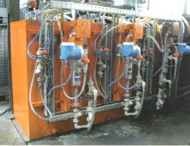 Fig. 4: Binder dosing system with special dosing pumps, the feed and drain valves, and the binder injection valves (AAGM Aalener Gießereimaschinen GmbH)