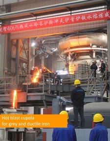 Fig 7: Hot blast cupola for grey and ductile iron, Küttner GmbH & Co. KG